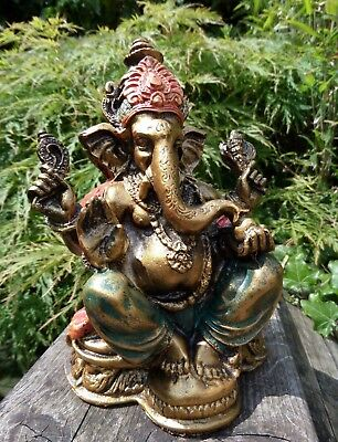 Fair Trade Hand Made Resin Ganesh Ganesha Elephant Hindu Buddhist Deity Statue