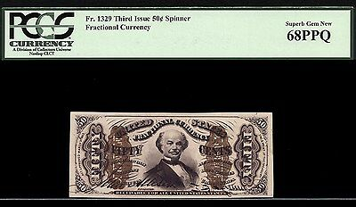 Third Issue Fractional 50c Spinner FR. 1329  PCGS 68 PPQ  FINEST KNOWN