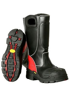 Fire-Dex FDXL-100 Red Leather Structural Fire Fighting Boots, Bunker Boots, NEW