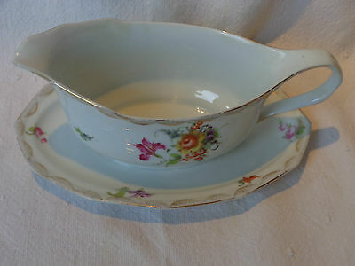 ANTIQUE GERMANY DECOR LUDWIGSBURG BONE CHINA FLORAL 9'' OVAL SAUCE BOAT DISH