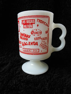Vintage Las Vegas Nevada NV Casino Federal Milk Glass Pedestal Mug