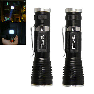 2pcs CREE Q5 LED 1600 lumens Adjustable Focus Zoomable Flashlight Torch