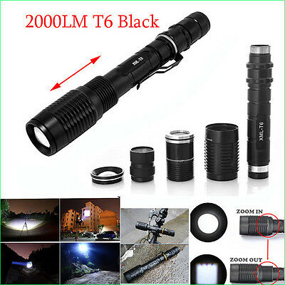 1000-2000 Lumen Zoomable CREE XM-L T6 Q5 LED Flashlight Torch Zoom Lamp