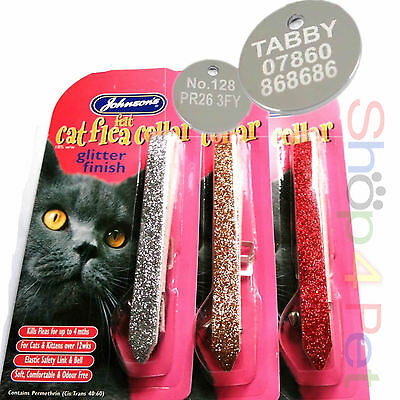 """Cat FLEA Collar """"Sparkling Glitter"""" JOHNSON With Option for ENGRAVED PET ID TAG"""
