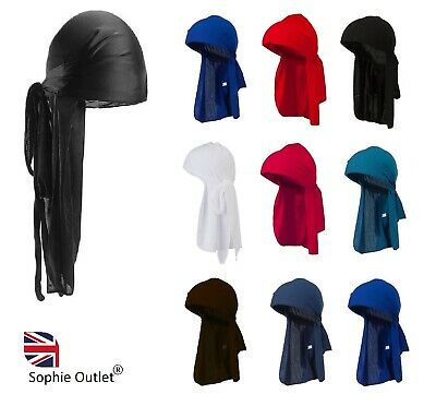 Men's Durag Bandanna Sports Du Rag Scarf Head Rap Tie Down Band Biker Cap B3