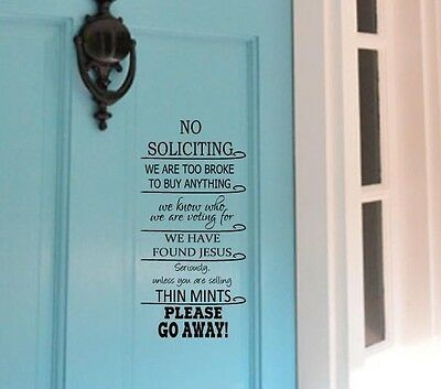NO SOLICITING Jesus Thin Mints Vinyl Decal Decor Lettering Words Saying Quote