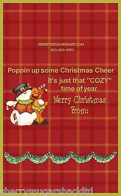 Christmas Microwave Popcorn Wrapper Party Favor Personalized FREE