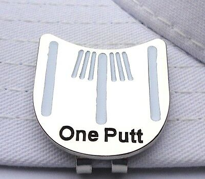 One Putt Golf Putting Alignment Tool Ball Marker with Hat Clip- White Stripes