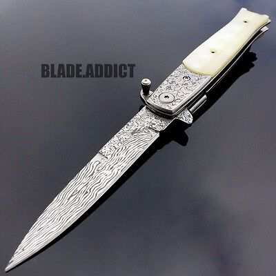 "8.5"" Damascus Classic Italian Stiletto Spring Assisted Open Pocket Knife Pearl"