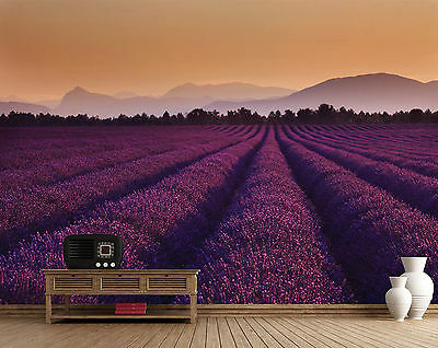 Wall mural giant size Lavender Fields in France photo wallpaper for bedroom