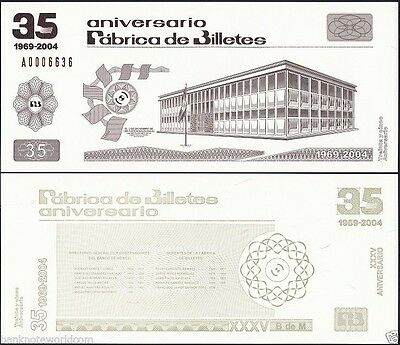 Mexico 35th Anniversary of Banknote Factory, 1969 - 2004, Test Banknote,Specimen