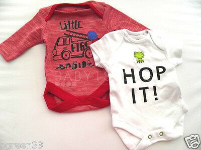 2 Boys Baby Next Bodysuit Cotton Vests Novelty Designs First Size 3.4kg / 7.8lbs