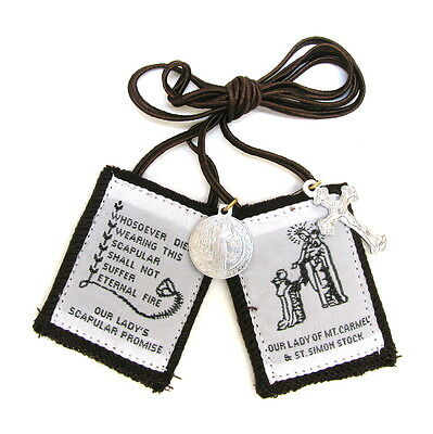 Scapular Traditional Our Lady Carmel Brown Scapular 100% Wool & Medals Catholic