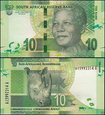 South Africa 10 Rands, 2014 , P-133, UNC, With Omron Rings