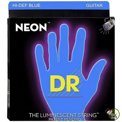 DR Strings NBE-9 Neon Blue Coated Lite Electric Guitar Strings Hexadonal Core