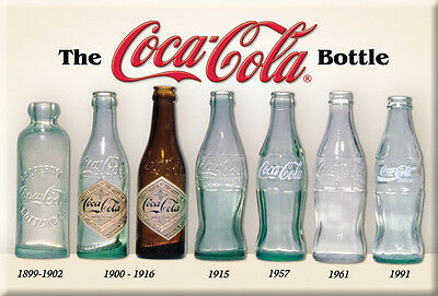"""COCA-COLA BOTTLE HISTORY 2"""" X  3""""  MAGNET, Years OF BOTTLES 1899-1991, FREE SHIP"""