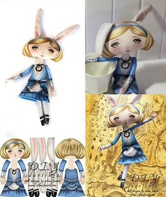 Bunny Alice with stuffing, Ready To Sew Doll DYI, Cut and Sew, Selina Fenech