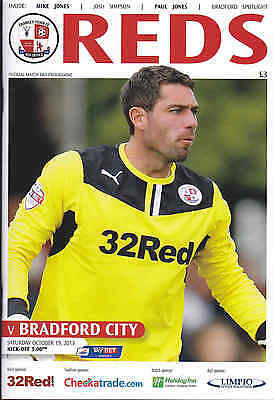 2013/14 CRAWLEY TOWN V BRADFORD CITY 19-10-2013 League 1 (Mint)