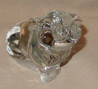 FENTON CLEAR GLASS PIG PAPERWEIGHT