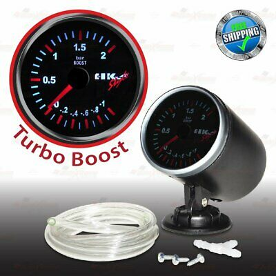 60mm 12V CAR Gauge WHITE Light TINTED Lens 270 Degree Scale Meter TURBO BOOST
