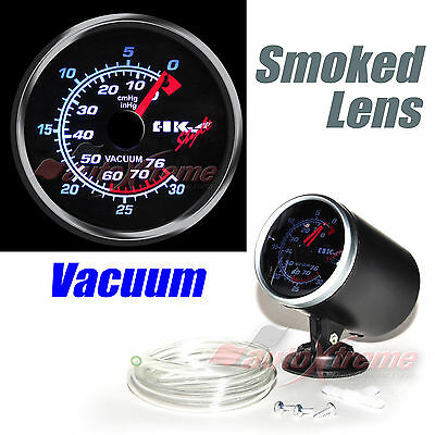 "DRIFT AUTO Gauge Meter 60mm/2.4"" SMOKED Lens WHITE Light RED Needle VACUUM RATIO"
