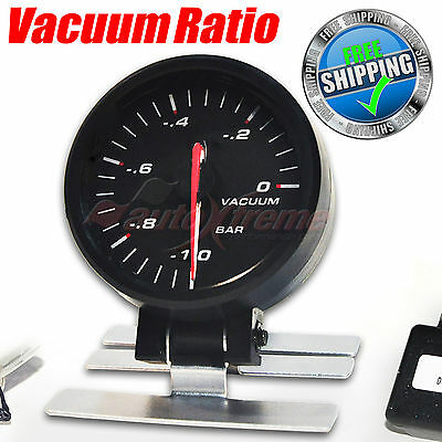 60mm 12V CAR Gauge BLUE Light STEPPER MOTOR 270 Degree Scale Meter VACUUM RATIO