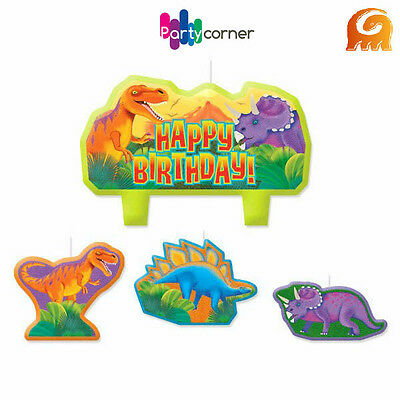 Dinosaur Party Supplies Candle Mini Moulded Pack Of 4 Prehistoric Dinosaurs