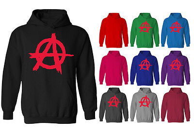 Mens Anarchy Red Symbol Punk Rock Pullover Hoodie NEW XS-XXL