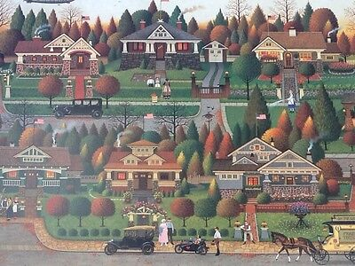 Charles Wysocki Labor Day in Bungalowville LE COA Mission Arts and Crafts Style