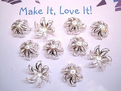 10 x 16MM SILVER PLATED Pretty Filigree Star Flower Swirl Bead Caps large Petal
