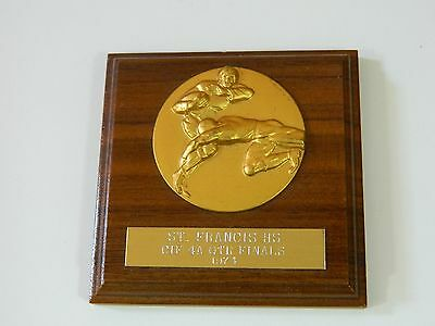 VINTAGE FOOTBALL WOODEN PLAQUE 1974 ST. FRANCIS HIGH SCHOOL QUARTER FINALS