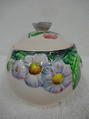CARLTON WARE Made in England floral covered porcelain preserve jam jar
