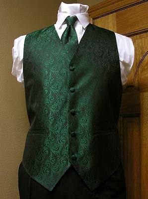 Vest Emerald Green Full Back Neck Tie  Imperial Tuxedo Steampunk Wedding Pocket