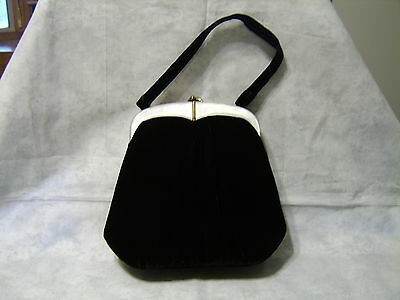 Vintage Bags by Edward purse black velvet lucite gold mother of pearl