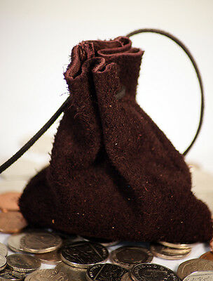 money/coin/gaming/Dice/Pouch/Bag BROWN SUEDE LEATHER re enactor/Larp/cosplay