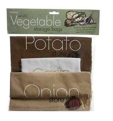 Vegetable Storage Bags Onion Garlic Potato Cotton Zip Opening Fresh Store Bag