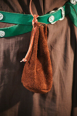 Medieval-Larp-Sca-Re enactment BROWN LEATHER MONEY-DICE DRAWSTRING BAG