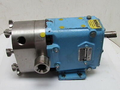 """Waukesha 015 Rotary Positive Displacement Stainless Steel Pump 1-1/2"""" Ports"""