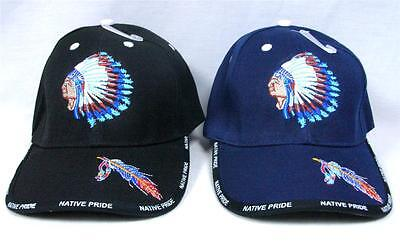 WHOLESALE LOT of 12 NATIVE PRIDE CAPS HAT FEATHER HEADDRESS HUNTING OUTDOORS
