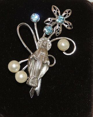 French Religous Miraculous Mary 1830 Pearl Rhinestone Brooch St Catherine 8a 12