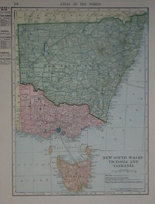 Original 1905 Map NEW SOUTH WALES VICTORIA TASMANIA Australia Melbourne Sydney