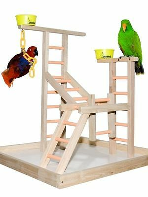 Parrot Bird Perch Play Gym Stand Table Top  Playland Perch
