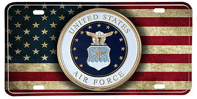 US Air Force NOVELTY License Plate - Distressed American Flag & Seal
