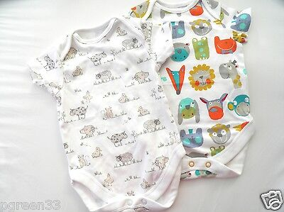 2 Next Baby Boys Bodysuit Cotton Vests Choice of designs Up to 3 Month 6kg 14lbs