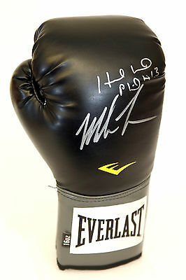 Mike Tyson & Evander Holyfield Duel Signed Black Portrait Everlast Boxing Glove