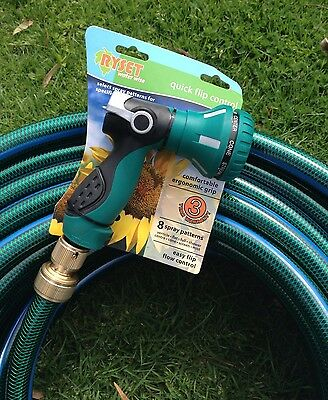 "Garden Water 50M Hose 18MM - 3/4""  Brass Fittings 8 Pattern Gun 8/10 Kink Free"