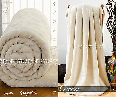 New Luxury Soft Faux Fur Mink Throw Sofa Bed Blanket Cream Extra Large