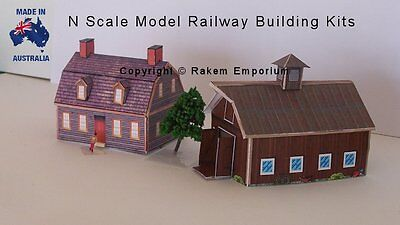 N Scale House and Barn + Shed Pack Model Railway Building Kit, Details - NSHB2