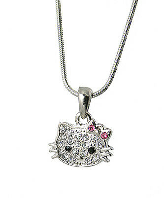 Cute Small Hello Kitty Necklace Silver Tone  Crystals Pink Bow 17 Inches