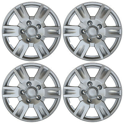 """4 Piece Set SILVER /LACQUER Hub Caps FITS 16"""" Inch Wheel Cover Skin Covers Cap"""